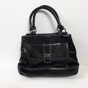 Minicci, Black Leather Crossbody Handbag Purse